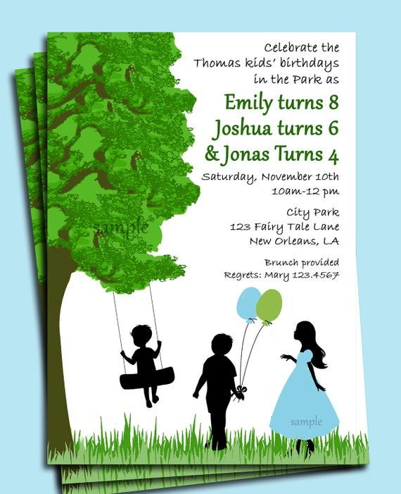 Park Playground Backyard Birthday Invitation Printable Or Print