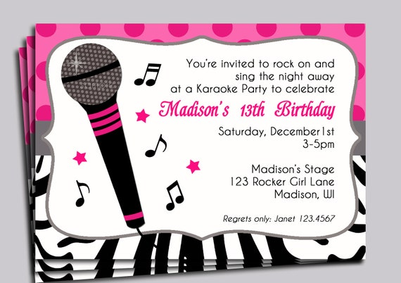 hot pink zebra invitation printable or printed with free, Birthday invitations
