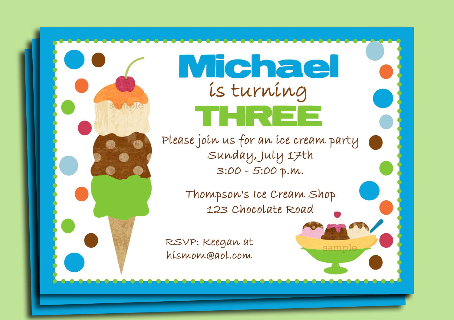 Boy\'s Ice Cream Party Invitation Printable or Printed with