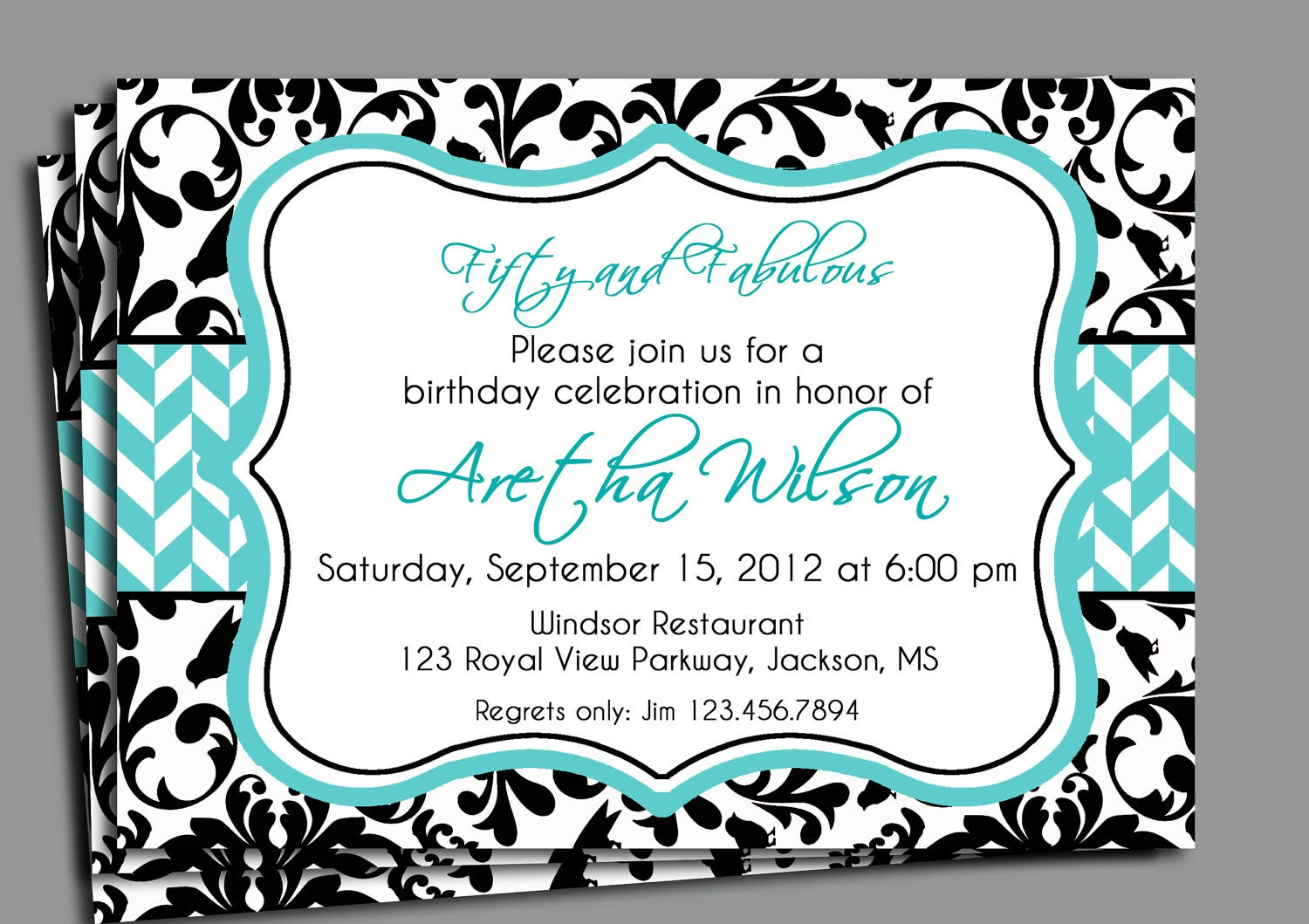 Black Damask Invitation Printable Bridal Shower Adult – Damask Birthday Invitations