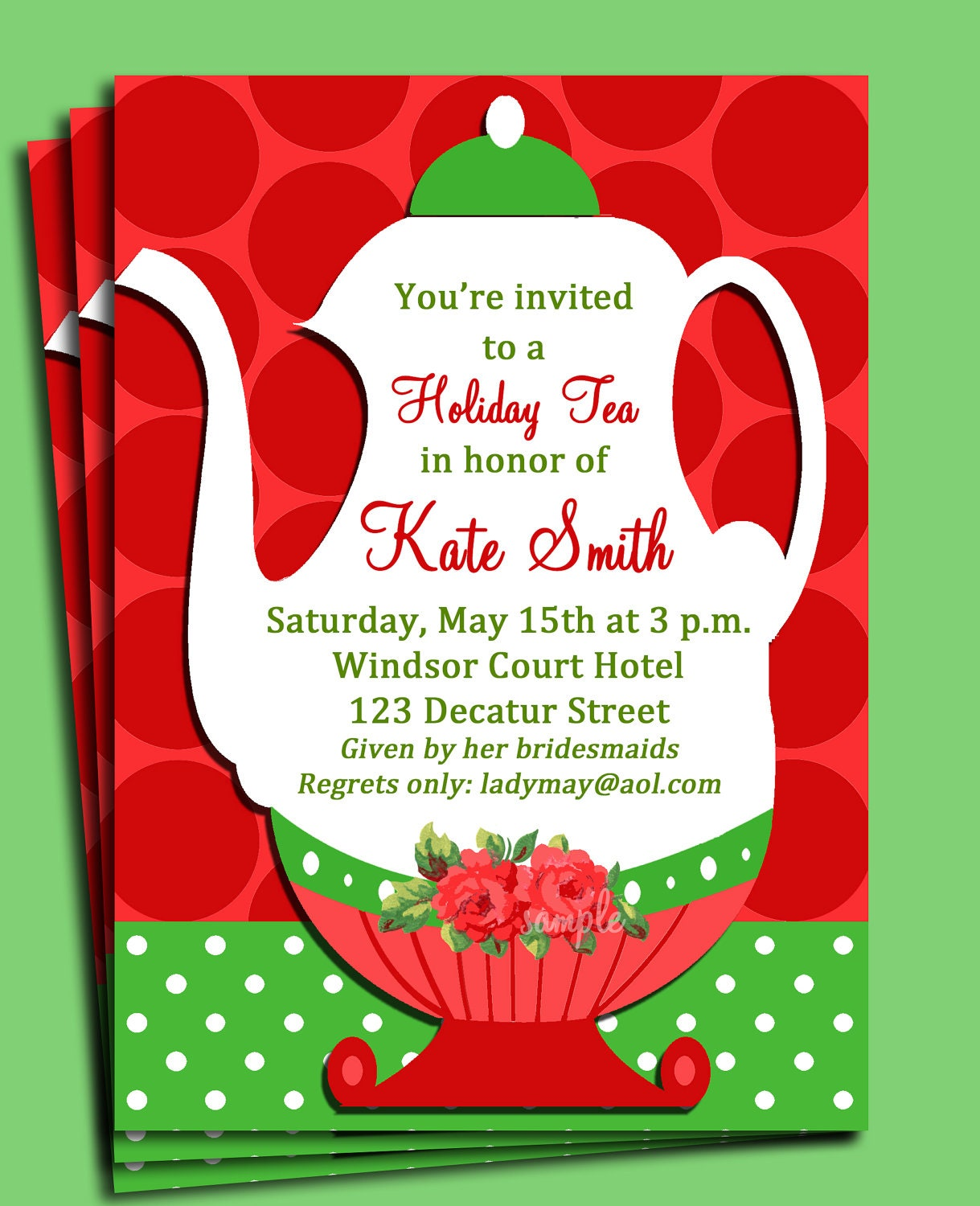 Christmas Tea Party Invitation Printable or Printed with FREE – Hotel Party Invitations