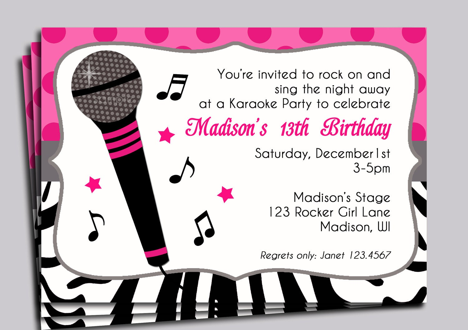 Hot Pink Zebra Invitation Printable or Printed with FREE