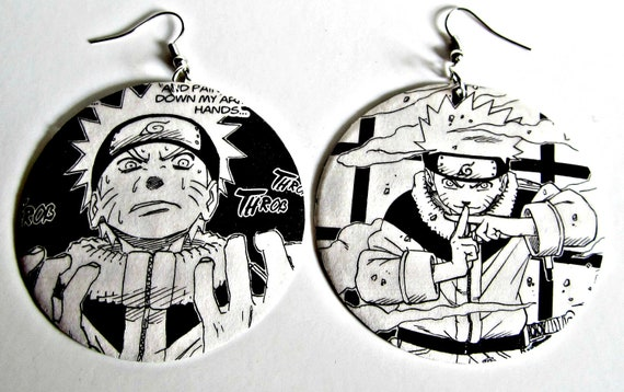 The Original Upcycled Vintage Comic Book Earrings Featuring Naruto