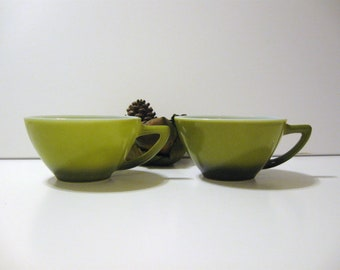 Mid  century vintage  cups avocado green china cups set of 2