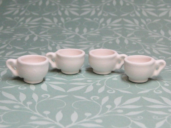 uninished bisque dolls miniature tea cups charms or coffee mugs 4 pcs ceramic bisque dollhouse playscale plus