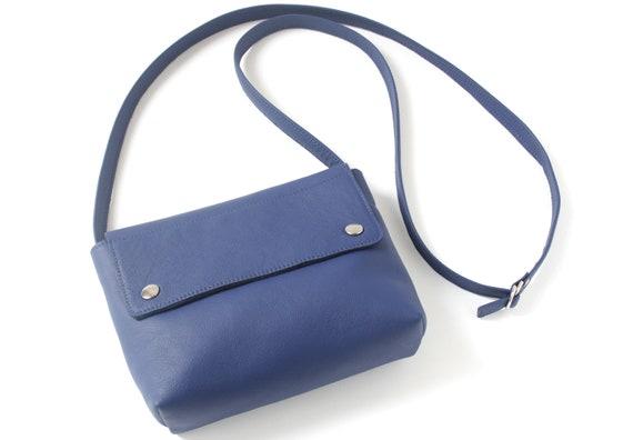 Medium crossbody bag genuine leather royal blue, handbag, small satchel bag