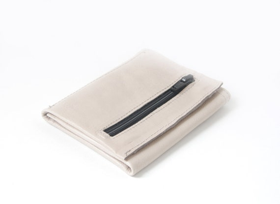 Genuine Leather Trifold Wallet, pale ivory black, small off white purse, H12 x W9 x D1,5 cm