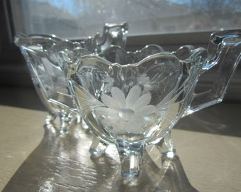1930s Etched Glass Footed Cream and Sugar Set