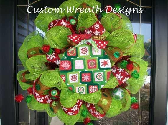 Lime and Red Ornament Mesh Wreath