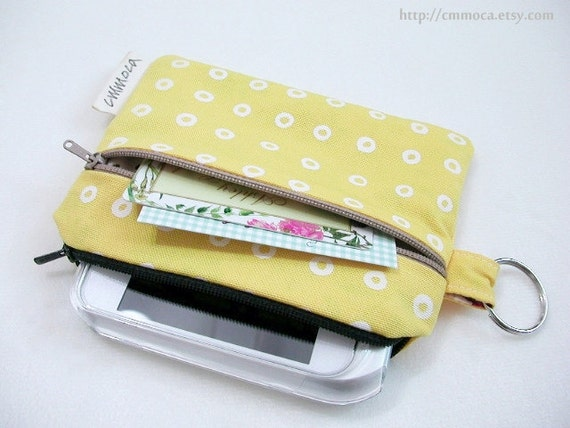 WAS 17 NOW 15 - Two Zipper Pocket Pouch with a Key Chain - Mango Yellow
