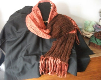 Scarf Brown and persimmon.
