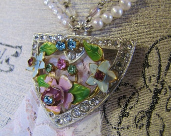 Mon Tresor-  Antique Rhinestone Art Deco Belt Buckle Pendant with Austrian Enamel Flowers and Genuine Freshwater Pearls- One of a Kind