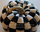 "Black and White Check Pumpkin - Hand Painted - Fall-Halloween Decoration-Centerpiece-""MADE TO ORDER"" (Listing for  One Pumpkin) 7.5"" x 7"" - PetalsnPlumes"