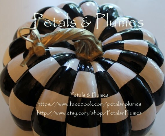 "Black and White Check Pumpkin - Hand Painted - Fall-Halloween Decoration-Centerpiece-""MADE TO ORDER"" (Listing for  One Pumpkin) 7.5"" x 7"""
