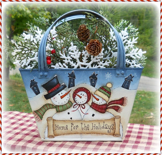 E PATTERN - Home for the Holidays Snowmen - 2 sided design - Painted & Designed by Sharon B - FAAP