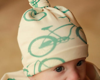 Organic cotton cruiser bike knotty hat Size 0-6 or 6-12 months Green Bicycle gift for newborn Baby Gift Natural