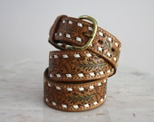 Leather Belt - DETAILED Tan Brown White Green Gold Brass Buckle - XS S M - 1970s VINTAGE