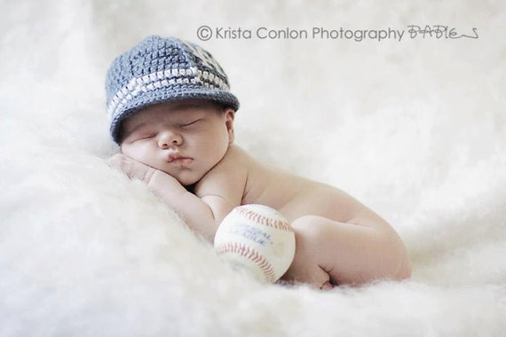 Los Angeles Dodgers Inspired Crocheted Baseball Cap (Newborn - Children Size) (Made to Order)