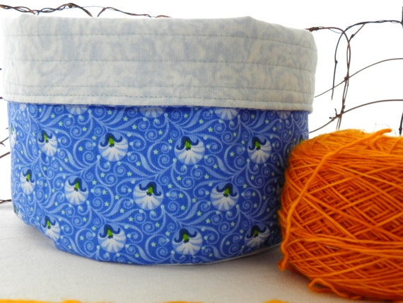 Fabric Bowl, Reversible Organizer Bin/Basket, Yarn Bowl: Blue Flower Bowl Reversible to Blue & White - Knitting Yarn Bowl