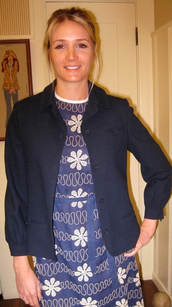 Classy Navy Jacket / Wool / Short Jacket / Retro Blazer / Size 10