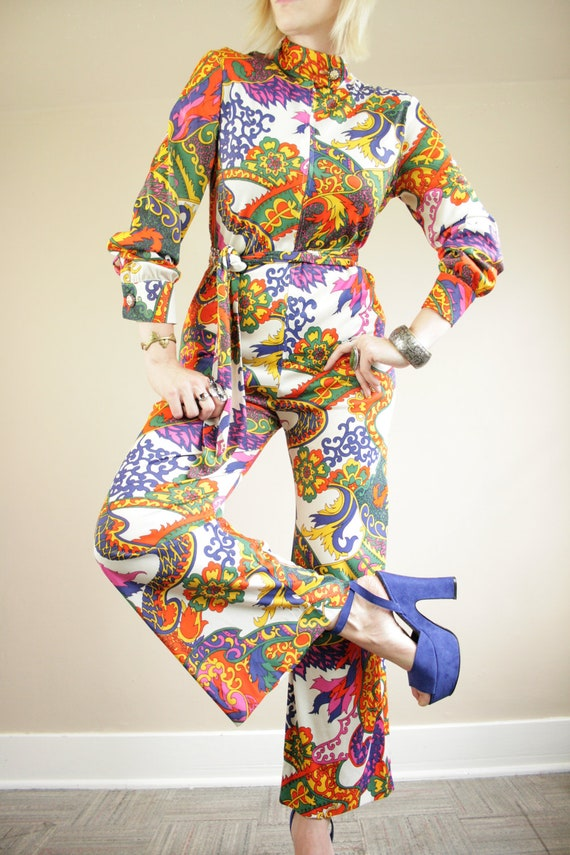 60s Psychedelic Zip Down Belted Pants Jumpsuit