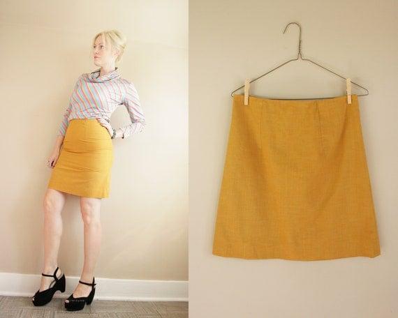 mustard yellow a line mini skirt