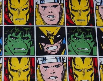 Marvel Comics Fabric / Yard /  Marvel Superheroes / Faces in Squares  / Thor, Hulk, Ironman, Wolverine