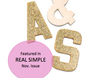 Glitter Block Letters - Monogram or Initials - Gold or Silver - 2 glitter letters and one solid ampersand