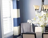 "108""L Grommeted Striped Drapery Panel - custom curtains - 28 Colors"