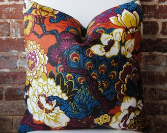 SALE - Shanghai Peacock in cinnabar - Pillow Cover - 20 in square - Designer Pillow - Decorative Pillow - Throw Pillow