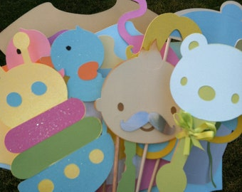Photo booth props:  unisex baby shower, twin boy and girl  21 pc