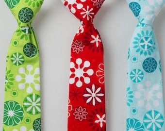 Boys Ties - Green or Blue Snowflakes - Choose One