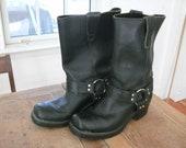 VINTAGE 1990s Landis Black Leather Harness Boots Classic Rocker Biker Motorcycle 9.5