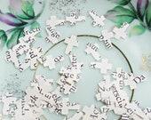 100 Cross Paper Confetti Upcyled Wedding Baptism Christening German Hand Punched Crucifix Shape Handmade