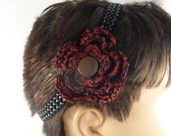 Crochet Headband With Flower Gothic Headband Black Red Crochet Flower Elastic Band