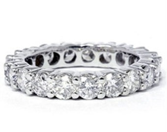 Diamond 3.00CT Eternity Wedding Ring Anniversary Band Stackable Prong Band 14K White Gold Size (4-9)