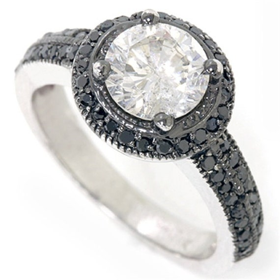 1.77CT Vintage Pave Black Diamond Halo Engagement Ring 14K