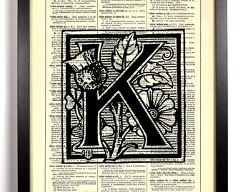 Letter K Filigree, Home, Kitchen, Nursery, Bathroom, Office Decor, Wedding Gift, Eco Friendly Book Art, Vintage Dictionary Print, 8 x 10 in.