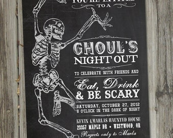 Adult Halloween Party Invitations, Printable, Ghouls Night Out, Halloween Party Invitations, Chalkboard Invitations, Skeleton Invitation