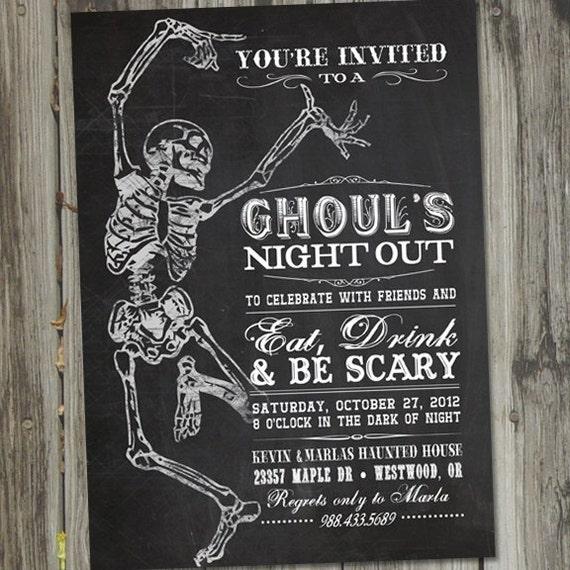 Skeleton Dance Vintage Retro Halloween Printable Party Invitation
