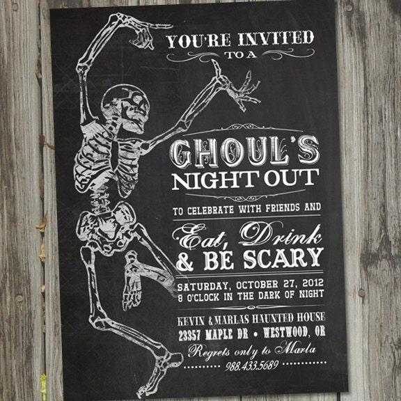 Adult halloween party invitations printable ghouls night for Vintage halloween party invitations