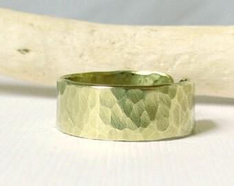 Hammered Brass Gold Ring
