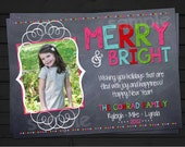 Merry and Bright - Chalkboard - Colorful - Chalkboard Style Christmas Card - Photo Holiday Card - Printable