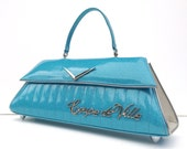 Couture Vintage Car inspired Handbag Made In USA- Coupe De Ville Tiffany Blue /White Tuck & Roll