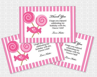 Pink Candy Party Thank You Tags, Printable file, Personalized