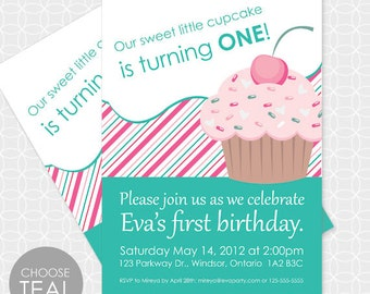 Cupcake Party Invitation, Printable file, Personalized