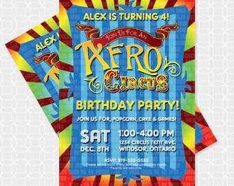 Party Printable Afro Circus Party Invitation - Personalized Printable