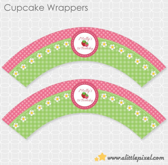 Party Printable Strawberry Party Cupcake Wrappers - Personalized Printable