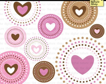 Valentine Hearts in Circles - Clip Art - INSTANT DOWNLOAD - for Invites, Crafts, Scrapbooking, Collage, Cards, More