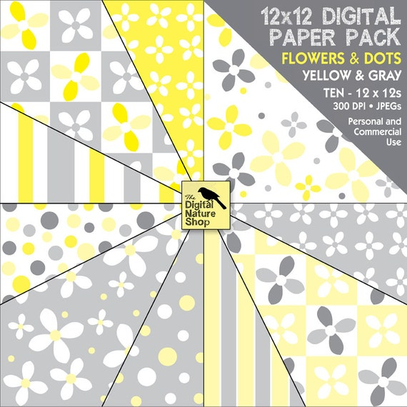 Yellow and Gray Flowers - Dots - Digital Paper Pack - INSTANT DOWNLOAD -  for Scrapbooking, Cards, Collage, Invites, Journaling, Decoupage
